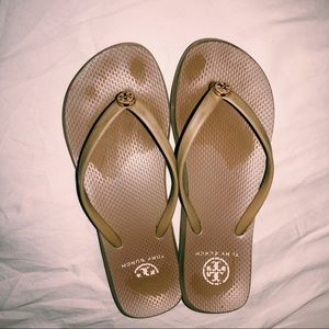 Tory Burch Tan Rubber Flip Flops